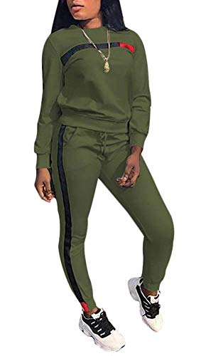 Women 2 Pieces Outfit Jumpsuit Sweatshirt Sweatpants Sport Jogger Jog Set Army Green