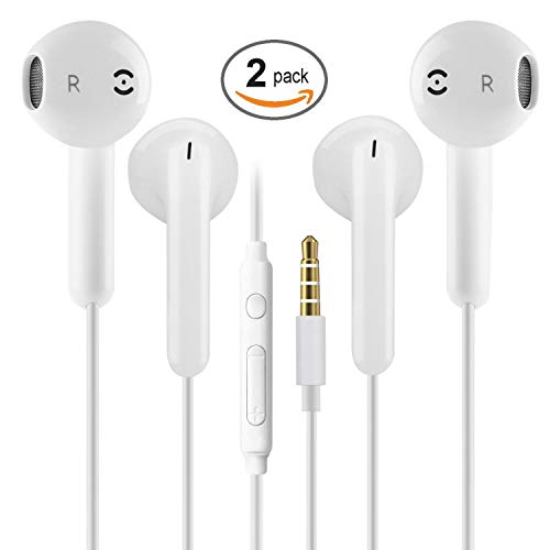 2 Pack 3.5mm Earbuds Ear Buds in Ear Headphones Wired Earphones with Mic Stereo and Volume Control Waterproof Metal Wired Earphone Compatible with Smartphone, MP3/MP4 Player and Tablet (White) (Ear Buds)