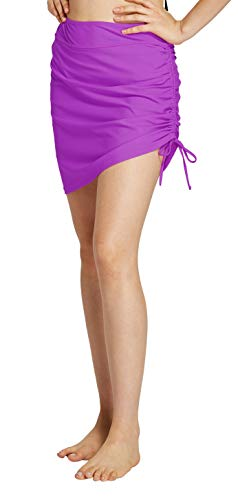 Womens Swim Skirt Waistband Mid Length Skirted Bikini Bottom Cover-up Beachwear 10 Purple