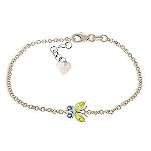 QP bijoutier Topaze bleue-Péridot & Bracelet en or blanc 9 carats - 5031W 0.60ct