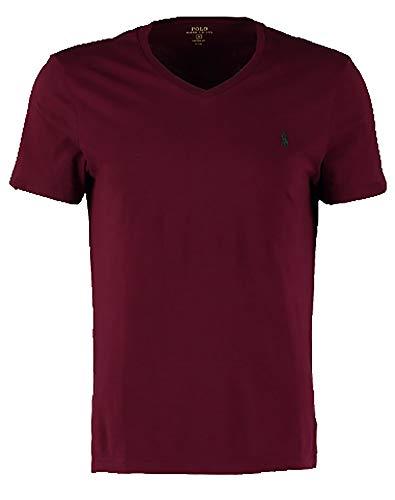Polo Ralph Lauren Men's Classic Fit Solid V-Neck T-Shirt (XX-Large, Deep RED) Classic Deep V-neck T-shirt
