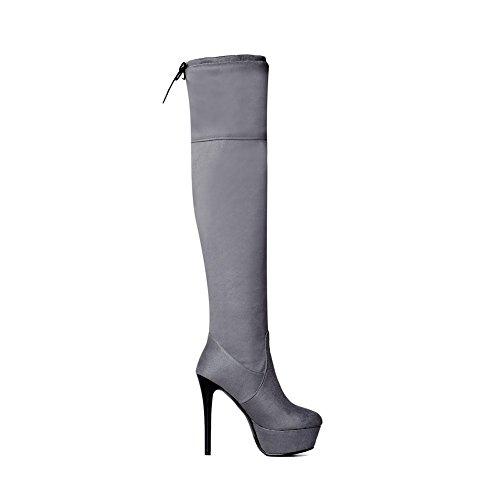 Botas Ladies Solid N Stiletto grises A de cuero imitado Platform WSfqCY