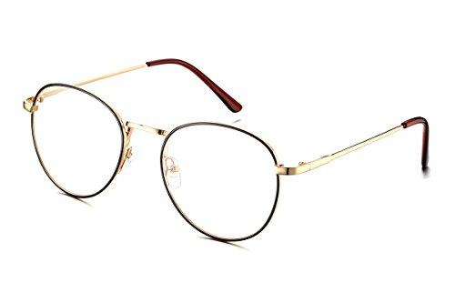 (PenSee Oval Classic Retro Metal Frame Clear Lens Round Circle Eye)
