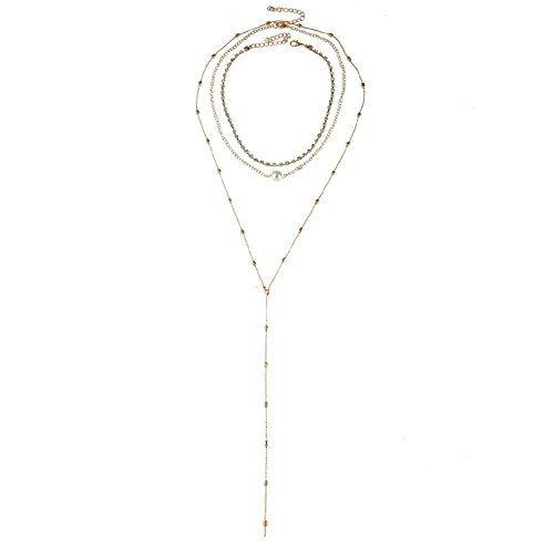 JSEA 3 Pieces Set Gold Chain Multi Layer Necklace Simulated Pearl Beads Necklace for ()
