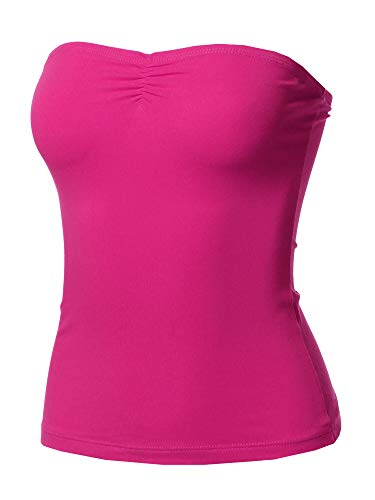 Solid Sexy Tube Top with Chest Ruching Detail Fuchsia S