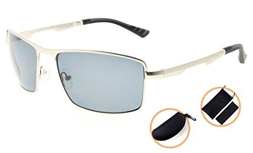 Eyekepper Lunettes de soleil Metal monture verres en Polycarbonate verres Polarisees lunettes soleil pour hommes argentee/gris verre