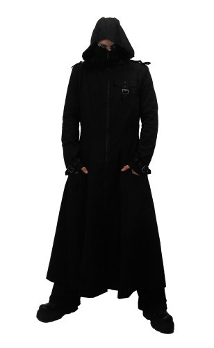 Necessary Evil Marduk Mens Hooded Trenchcoat at Amazon Men's ...