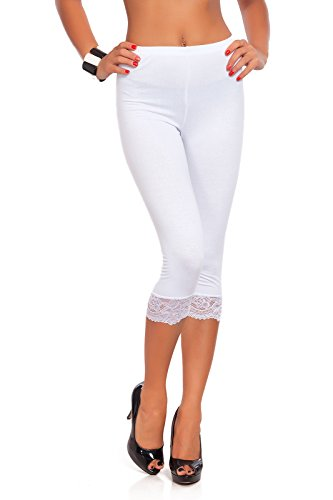 Futuro Fashion Cropped 3/4 Lenght Cotton Leggings with Lace All Colours & All Sizes White
