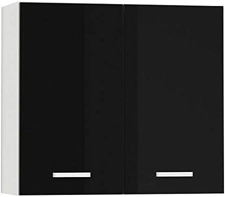 Meuble Haut De Cuisine Design 80 Cm Avec 2 Portes Coloris Blanc Mat Et Noir Laque Amazon Fr Cuisine Maison