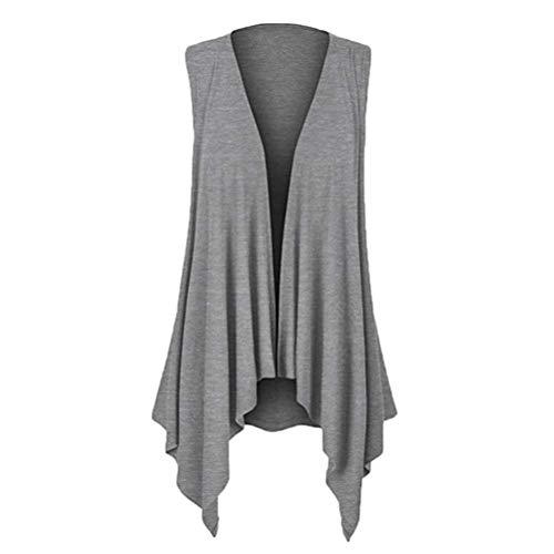V En cou Uni Debardeur Outerwear Mode Gilet Tricot Automne Branché Femme Irrégulier Printemps Sleeveless Chic Manche Grau Bolawoo Style Rne cTwZ06q