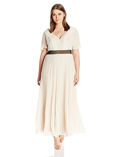 (ABS by Allen Schwartz Women's Plus-Size Pleated Chiffon Gown with Flutter Sleeves, Champagne, 22W)