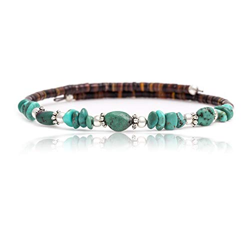 $80 Tag Certified Authentic Navajo Native American Natural Turquoise Adjustable Wrap Bracelet 12732-14