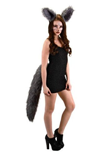 Rat Ears And Tail Costume (OvedcRay Deluxe Oversized Big Wolf Tail Adult Grey Werewolf Wolfman Animal Costume Tails)