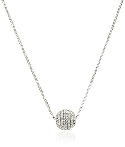 Rhodium Plated Sterling Silver Diamond Accent Ball Necklace, 18