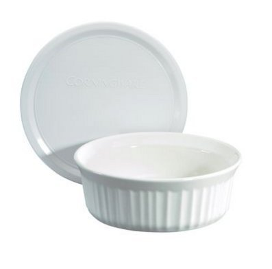 (Corningware 24 Oz Round French White Casserole Bundle: Round Casserole with Plastic Lid)