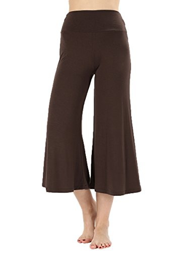 JNTOP Women's Premium Gaucho Capri Palazzo Flare Pants Teal Small ()
