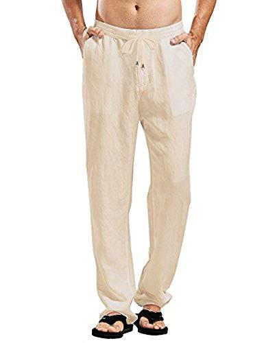 Daupanzees Mens Linen Cotton Joggers Loose Lightweight Slacks Beach Fashion Casual Yoga Pants