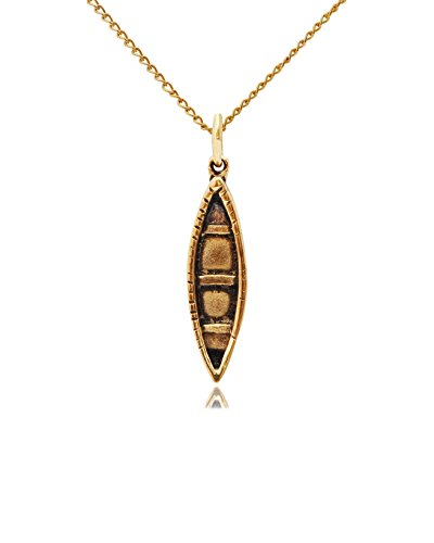 Boat Kayak Canoe Gold Brass Charm Necklace Pendant Jewelry