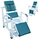 reclining shower chair wdeluxe elongated open front commode seat footrest padded elevated