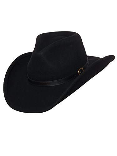 Men's Outback Wool Cowboy Hat Dakota Black Shapeable Western Felt by Silver Canyon, Black, Large