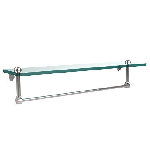 Allied Brass RC-1/22TB-PC 22 Inch Glass Vanity Shelf with Integrated Towel Bar Polished Chrome