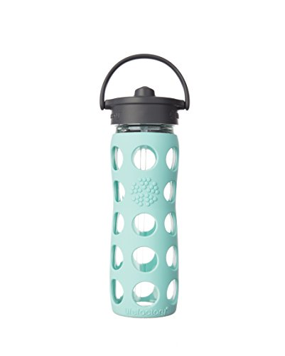 Plastic Bottle Top Collection - Lifefactory 16-Ounce BPA-Free Glass Water Bottle with Straw Cap and Silicone Sleeve, Turquoise