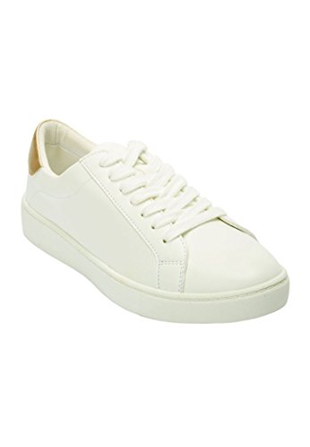 Woman Within Womens Wide Jamie Vintage Leather Sneaker White,11 M