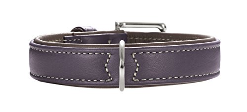 Plum  Mocca 50 cmHunter Soft Canadian Elk Leather Dog Collar, 65 cm, Cognac Mocca