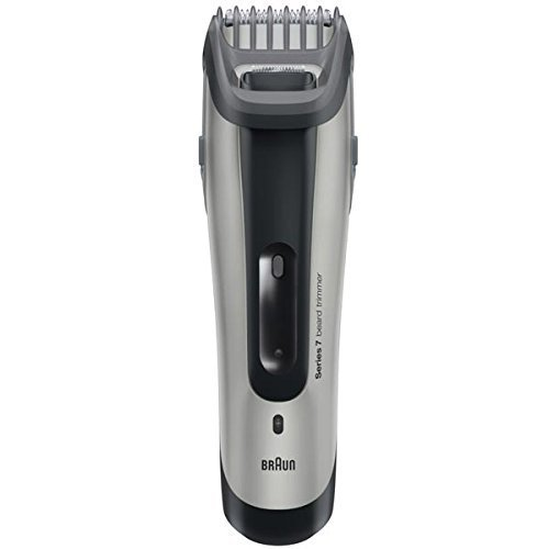 (Braun Rechargeable Hair & Beard Trimmer with Unique Slide&Style System, Easy Click & Lock Combs, Features 12 Length Settings Is Fully Washable, Worldwide Voltage Charging Stand and Convenient Travel Case Included)