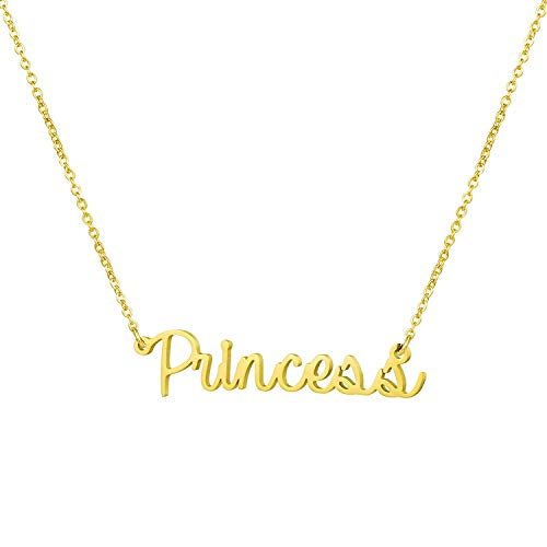 - Yiyang Personalized Gift for Girls Name Necklace 14K Gold Plated Stainless Steel Birthday Jewelry for Women Princess