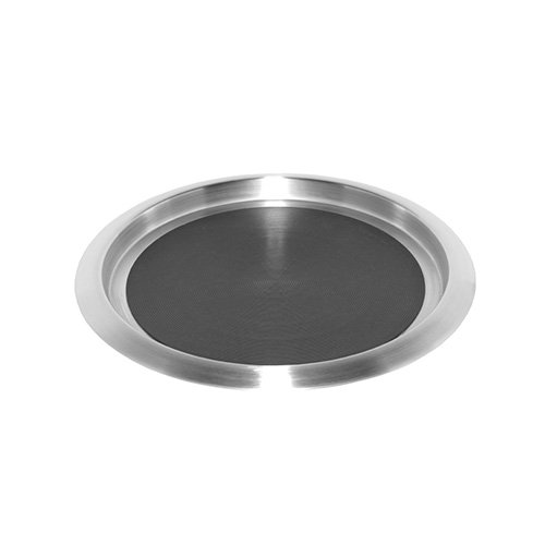 Service Ideas TR1412SR 14'' Non-Slip Round Tray, Brushed Stainless/Black Insert by Service Ideas
