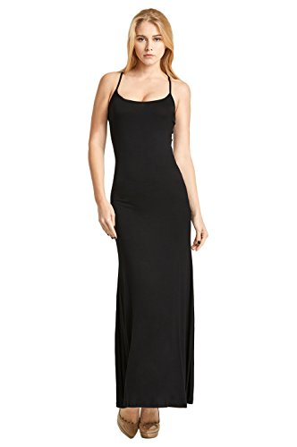 Women's Classic Camisole Top Maxi Dress (M, Black)