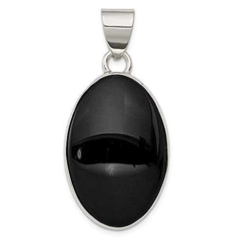 925 Sterling Silver Black Onyx Oval Pendant Charm Necklace Natural Stone Fine Jewelry Gifts For Women For Her