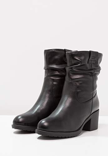 Con Botas Mujer Y Piel Boots Imitación Tobillo Elegantes De Anna Field Cremallera Botines Ankle Negro Tacón Cierre Bloque PSwx5