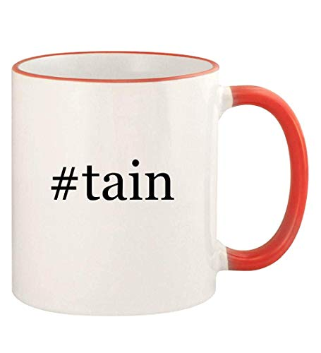 #tain - 11oz Hashtag Colored Rim and Handle Coffee Mug, Red