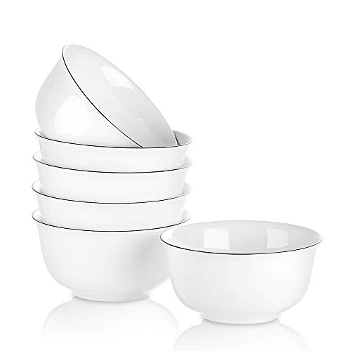 YOLIFE 6 Packs 11 oz Porcelain Small Bowls Set for Dessert, Ice Cream, Soup, Fruit, Small Side Dishes,Salad,Dip, White with Black Rim