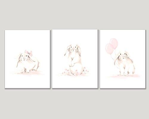 Bunny Nursery Art, Set of 3 Prints, Baby Rabbits with Balloons, Sweet Blush, Various Sizes Available, UNFRAMED PRINTS - Bunny Nursery Decor