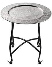 Mesa marroquí, Consola auxiliar de metal Sule 40cm redonda - Mostrador de té oriental - Bandeja plegable es oriental en plata, como mesa de luz