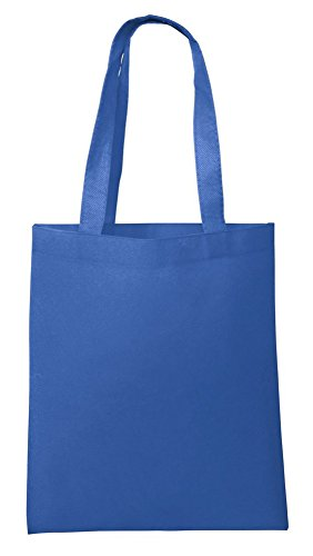 100 PACK - Customizable Giveaway Tote Bag | Non-Woven Personalize Colorful Gift Favor Bag Show Event Convention Church Decorating Kids Tote Bags Party Supplies Bags - NTB10 (Royal)