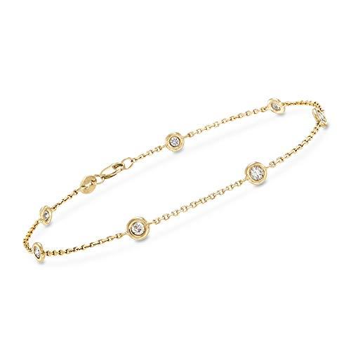 Ross-Simons 0.50 ct. t.w. Diamond Station Bracelet in 14kt Yellow Gold (1/2 Ct Tw Diamond Bracelet)