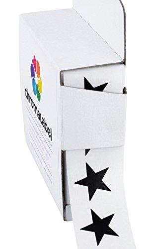 "3/4"" Black Star Stickers in Dispenser Box - 1,000 Labels per Box, Permanent Adhesive"