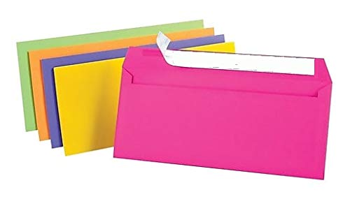 1InTheOffice EasyClose Neon Brights Color Envelopes, 10, Assorted, 4 1/8