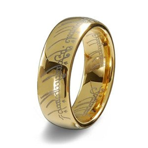 Gold Plated 18k Elvish Script Tungsten Carbide Unisex Laser-etched Wedding Ring Band- 7mm (10) - Etched Fashion Ring