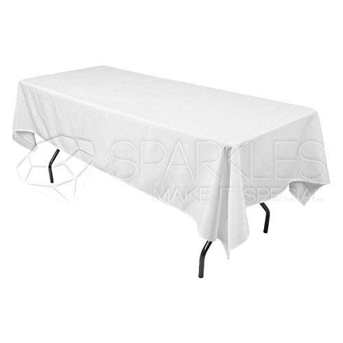 Sparkles Make It Special 25-pcs 60'' x 126'' Inch Rectangular Polyester Cloth Fabric Linen Tablecloth - Wedding Reception Restaurant Banquet Party - Machine Washable - White by Sparkles Make It Special