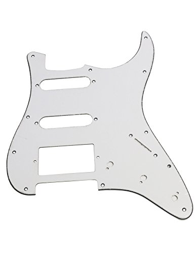 (Metallor Electric Guitar Pickguard 3 Ply 11 holes 2 Single Pickup 1 Humbucker Pickup SSH Compatible with Strat Style Modern Guitar Parts Replacement(White))