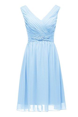 Bridesmaid Line Women's Chiffon Dresses Blue A Cocktail V DYS 2016 Neck Short Dress vPWxdBzFqB