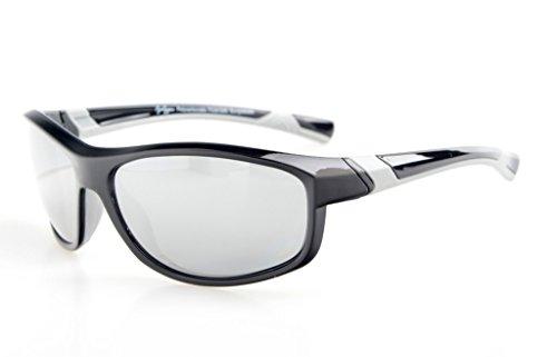 Eyekepper Polycarbonate Polarized Sport Sunglasses For Teenagers Baseball Running Fishing Driving Golf Softball Hiking TR90 Unbreakable Black Frame Silver Mirror