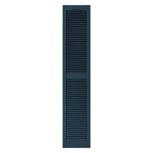 12 in. x 48 in. Louvered Vinyl Exterior Shutters Pair in #036 Classic Blue - Vinyl Exterior Shutter