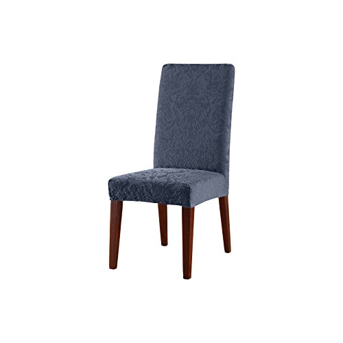 (SureFit Stretch Jacquard Damask - Shorty Dining Room Chair Slipcover - French)