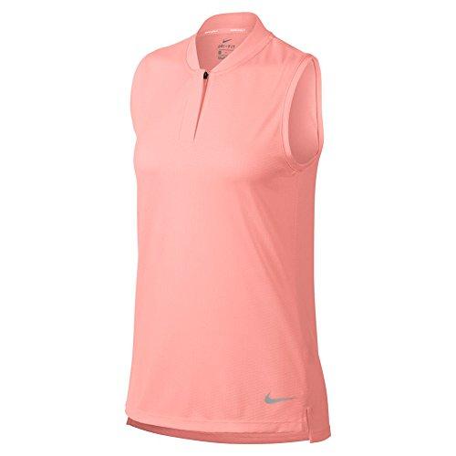 NIKE Dri Fit Sleeveless Blade Collar Golf Polo 2018 Women Storm Pink/Flat Silver Medium